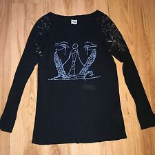 ACNE Womens Black Long Sleeve Top T-shirt with Print Black M