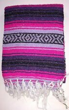 Mexican Falsa Blanket Serape Aztec YOGA MAT Purple Pink & Black striped Xlarge