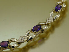 B048- Genuine 9K 9ct Solid Gold NATURAL Amethyst & Diamond Line Bracelet 18.2cm