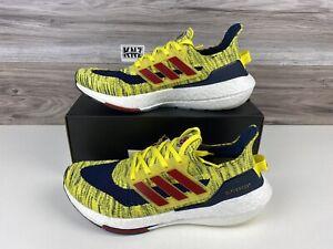 RARE**NEW Men's Adidas Ultraboost 21 Yellow Navy White   size 10.5   GZ7121 NWB