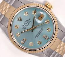 Rolex Datejust 2 Tone S/Steel 18k Fluted Bezel 36mm Watch-Ice Blue Diamond Dial