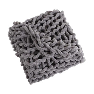 MHF Home Chunky Knit Chenille Grey Throw Blanket (40 in. x 60 in.)