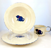 Child's Stoneware Dinnerware Plate Cup Bowl Cat Motif Vintage Earth Designs USA