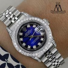 18K & SS Rolex 26mm Datejust Blue Vignette Genuine Diamond Numbers & Lugs