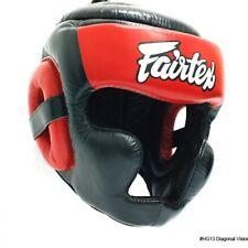 FAIRTEX HG13 BLACK/RED DIAGONAL VIEW HEAD GUARD-FULL HEAD COVER MUAY THAI