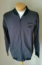 Vans Men's Campus Black Gray Long Sleeve Fall Winter Zip Up Jacket S