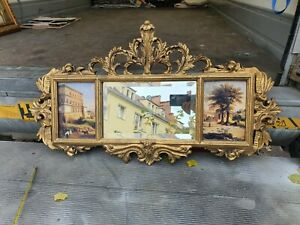 ALABASTER PLAQUE WITH MIRROR AND TWO PAINTINGS IN WOODEN & RESIN FRAME # 50M