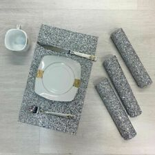 4X NEW Diamante Romany Dining Table Mat Place Tableware Dinner Crushed Diamond
