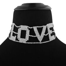 Rhinestone Necklace Shniny Neck Collier Full Crystal Chokers Big Letter LOVE