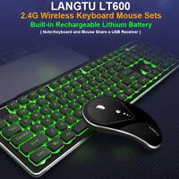 2.4G Wireless Rechargeable LED Backlit USB Ergonomic Gaming Keyboard Mouse Sets