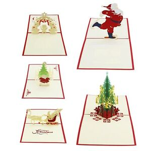 5pcs Pop Up 3D Christmas Card Xmas Popup Greeting with Envelope Set New Year