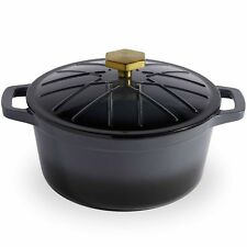VonShef 3.8L Grey Ombre Enamel Cast Iron Oven Casserole Dish Stewing Pot