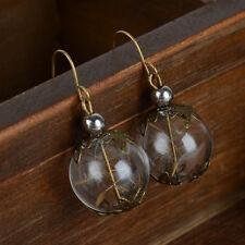 1 Pair Handmade Wish Real Dandelion Seeds Glass Ball Vial Hook Orb Earrings