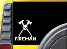 Fireman Skull K328 6 inch decal Maltese cross ax hydrant sticker