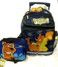 """SCOOBY DOO MYSTERY MACHINE 16"""" ROLLING BACKPACK & SCOOBY DOO LUNCH BOX BAG-NEW"""