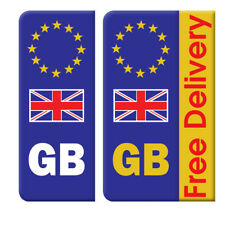 20 X GB Euro Number Plate Stickers White Yellow Vinyl  Decal Car (STKPN00009)