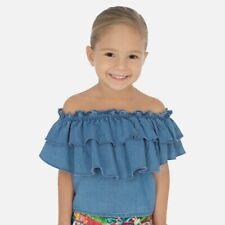 Mayoral girls soft blue denim summer ruffle sleeveless blouse/top (3187) age 3 y