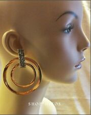 LARGE GOLD 3 INCH PAVE HEMATITE CRYSTAL DOUBLE HOOP RING  DROP METAL EARRINGS