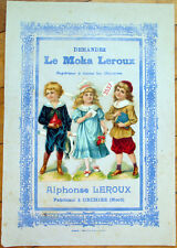 Victorian Diecut Scrap 1890s on Large 10x7 Chicoree Advertising- School Children