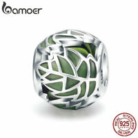 BAMOER S925 Sterling silver Charm Green leaf Enamel Bead For bracelet Jewelry