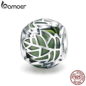 BAMOER S925 Sterling silver Charm Green leaf Enamel Bead For bracelet Jewelry
