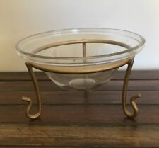 Glass Candy Dish With Brass Coloured Stand Vintage