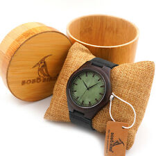 BOBO BIRD F03 Black Wood Watches With Leather Band Men's Quartz Watches
