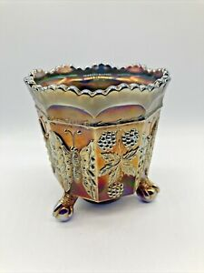 Fenton Carnival Glass Butterflies With Berries Spooner & Claw Feet Bronze & Blue