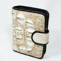White Genuine Leather Crocodile Back Skin Women Bi-fold Coin Purse Clutch Wallet