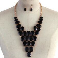 Black Oval Crystal Bead Gold Tone Base V Style Chunky Necklace Earring