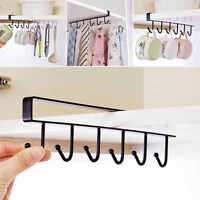 6Hooks Cup Holder Hang Kitchen Cabinet Under Shelf Storage Rack~Quality~Freeship