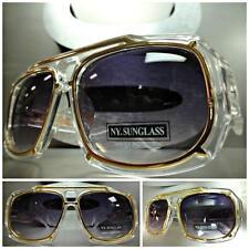 CLASSIC VINTAGE RETRO Old School Style Hip Hop SUNGLASSES Transparent Gold Frame