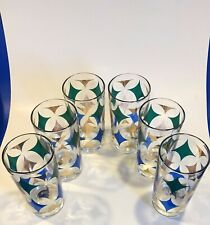 New ListingSet of 6 Mid Century Glass Drinking Glasses Vintage Mcm Blue/Gold/Green