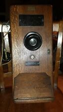 Antique Old Wood Box Wall Mount Leich Electric Telephone gb 1317-du railroad?