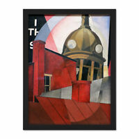Demuth Welcome City Red Tower Painting Large Framed Art Print