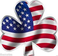 SHAMROCK USA FLAG HELMET TOOLBOX BUMPER STICKER DECAL MADE IN USA