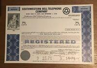 """SOUTHWESTERN BELL TELEPHONE FBC SPECIMEN"""" STOCK CERTIFICATE"""