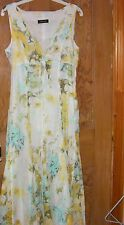 APANAGE 2 Piece Summer Dress & Jacket Size 10 in greens & yellow flowery cotton