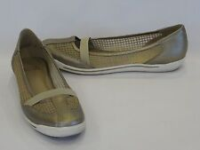Stuart Weitzman Gold Metallic Leather Trim Tan Mesh Demi-Wedge Flats 7M – GR8!!!