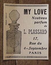 Publicité ancienne Parfum Plassard,My Love  1907