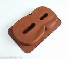 LARGE NUMBER EIGHT 8 SILICONE BIRTHDAY CAKE MOULD BAKEWARE PAN TIN BAKING MOLD