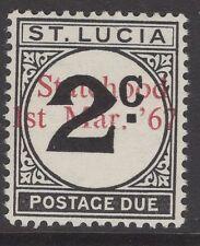 ST.LUCIA SGD11var 1967 UNISSUED 2c POSTAGE DUE OVERPRINTED STATEHOOD IN RED MNH