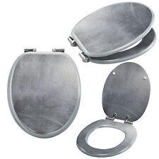 Asiento de Tocador Cierre Automático Aspecto Aluminio Gafas Inodoro Tapa Wc