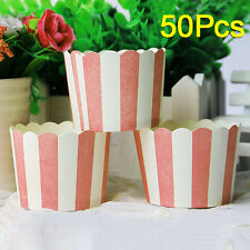 50Pcs Fancy Pink Stripes Paper Cupcake Cups Muffin Cups Party Cups Liner Case