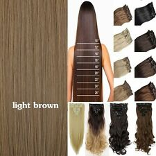 US 100% Natural Human Full Head Clip in Fake Hair Extensions Ombre Straight Wavy