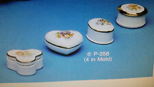 """Provincial 258 #4 SMALL SHAPED  BOXES"""" ceramic mold discontinued? vintage 1-2 in"""