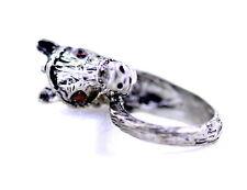 vintage retro antique style black and white enamel zebra ring, Fab!