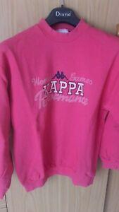 KAPPA felpa ragazza oversize S rosa fucsia con stampa logo girocollo cotone