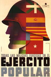 Ejercito Popular Vintage Spanish Civil War Military Propaganda Poster