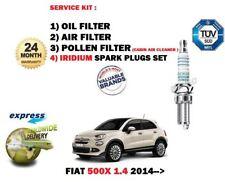 Für Fiat 500X 1.4 2014- > Öl Luft Pollen 3 Filter Set Service Kit + Zündkerzen